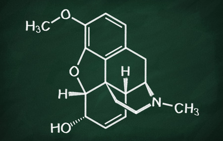 structural formula: Structural model of Codeine on the blackboard. Stock Photo