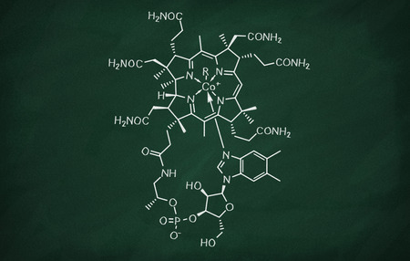 Structural model of Cobalamin on the blackboard.