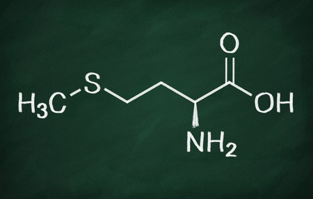 structural: Structural model of Methionine on the blackboard.