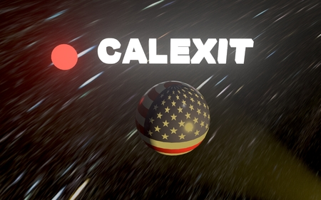 presidential: California wants to leave (exit) the United States of America. CALEXIT. 3D rendering. Stock Photo