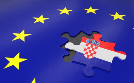 3d illustration. Puzzle piece with Croatia flag.