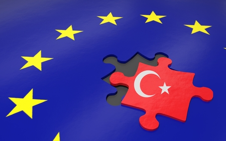 3d illustration. Puzzle piece with Turkey flag.