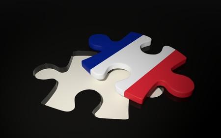 Flag of Francia on dark background. 3D render