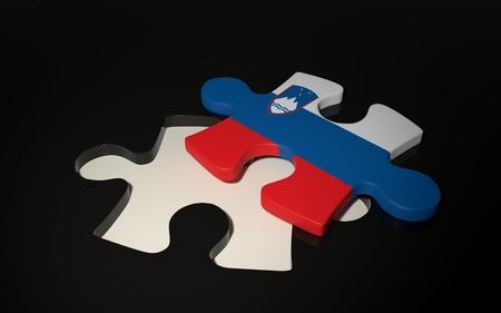 슬로베니아어 국기 퍼즐 조각 - 슬로베니아의 국기. 3D 렌더링