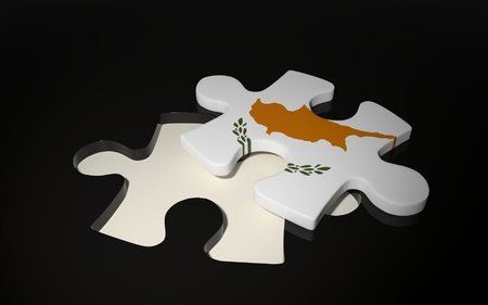 Cyprian Flag Puzzle Piece - Flag of Cyprus. 3D render