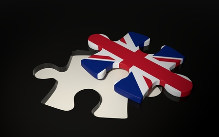 British Flag Puzzle Piece - Flag of Great Britain. 3D render Stock Photo