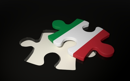 Italian Flag Puzzle Piece - Flag of Italy. 3D render Stock Photo