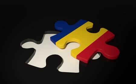 Romanian Flag Puzzle Piece - Flag of Romania. 3D render Stock Photo