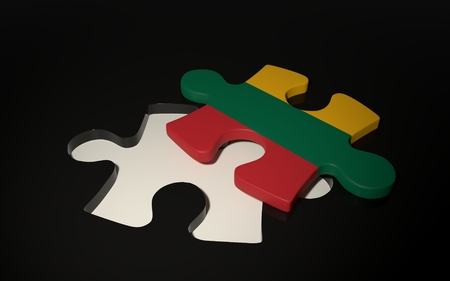 Lithuanian Flag Puzzle Piece - Flag of Lithuania. 3D render
