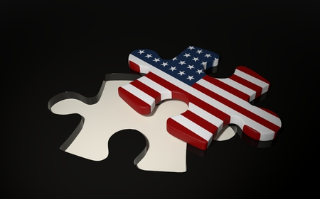American Puzzle Piece - Flag of USA. 3D render