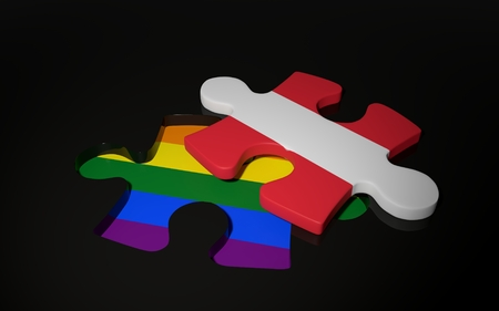 LGBT and Austria Flag like a puzzle piece. 3D render Stock Photo
