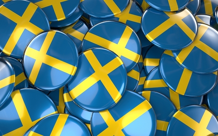 スウェーデンのバッジの背景 - スウェーデンの国旗ボタンの山。3 D レンダリング