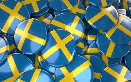스웨덴 배지 배경 - 스웨덴어 플래그 단추의 더미. 3D 렌더링