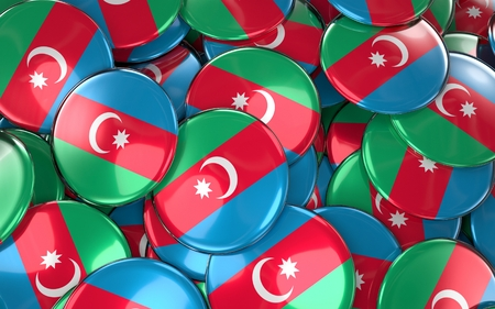 Azerbaijan Badges Background - Pile of Azerbaijani Flag Buttons. 3D Rendering Stock Photo