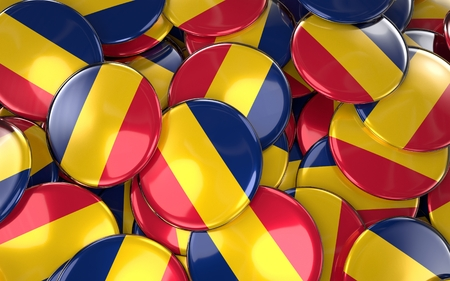 chadian: Chad Badges Background - Pile of Chadian Flag Buttons. 3D Rendering