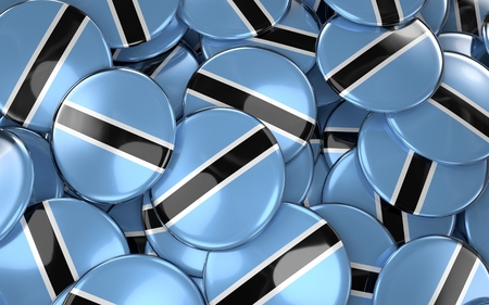 botswanan: Botswana Badges Background - Pile of Botswanan Flag Buttons. 3D Rendering Stock Photo