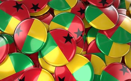 Guinea-Bissau Badges Background - Pile of Bissau-guinean Flag Buttons. 3D Rendering
