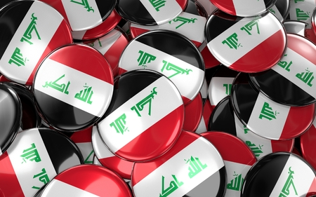 Iraq Badges Background - Pile of Iraqi Flag Buttons. 3D Rendering