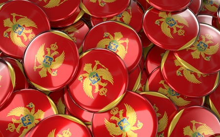 Montenegro Badges Background - Pile of Montenegrin Flag Buttons. 3D Rendering Stock Photo