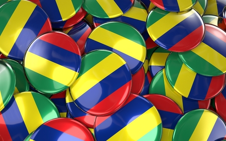 Mauritius Badges Background - Pile of Mauritian Flag Buttons. 3D Rendering