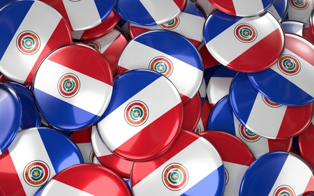 Paraguay Badges Background - Pile of paraguayan Flag Buttons. 3D Rendering Stock Photo