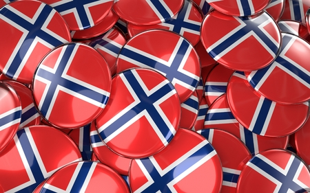 norway flag: Norway Badges Background - Pile of norwegian Flag Buttons. 3D Rendering