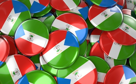 Equatorial Guinea Badges Background - Pile of guinean Flag Buttons. 3D Rendering