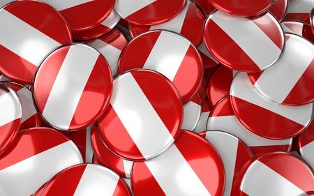 bandera de peru: Peru Badges Background - Pile of peruvian Flag Buttons. 3D Rendering