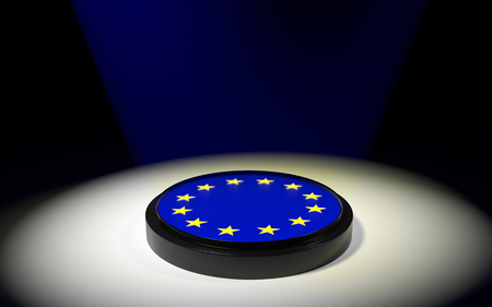 The push button with EU flag. 3D rendering. Stock Photo