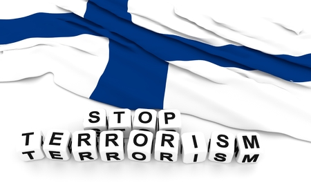Finland flag and text stop terrorism. 3D rendering. Imagens