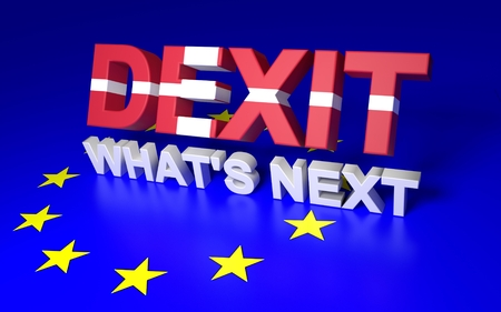 The text symbolize Denamrk leaving EU. Text written Dexit Whats next. 3D rendering.