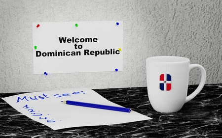 Big mug and label on the wall with text Welcome to Dominican Republic. 3D rendering.