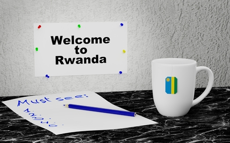 Big mug and label on the wall with text Welcome to Rwanda. 3D rendering.