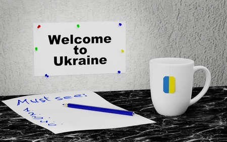 Big mug and label on the wall with text Welcome to Ukraine. 3D rendering.