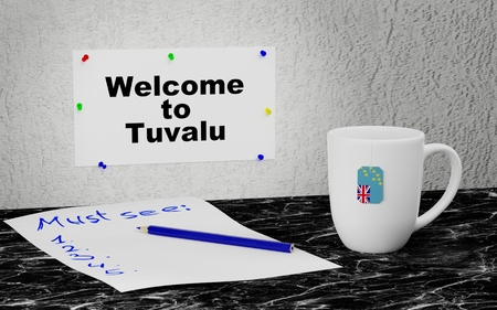 Big mug and label on the wall with text Welcome to Tuvalu. 3D rendering. Stockfoto