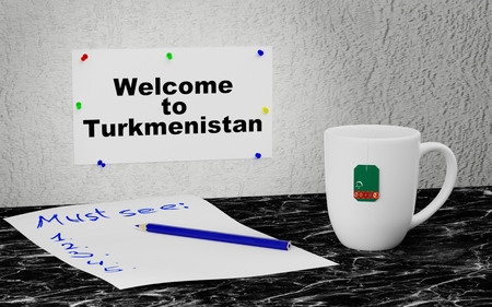 Big mug and label on the wall with text Welcome to Turkmenistan. 3D rendering.