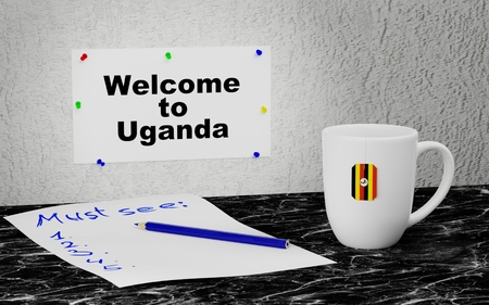 Big mug and label on the wall with text Welcome to Uganda. 3D rendering.
