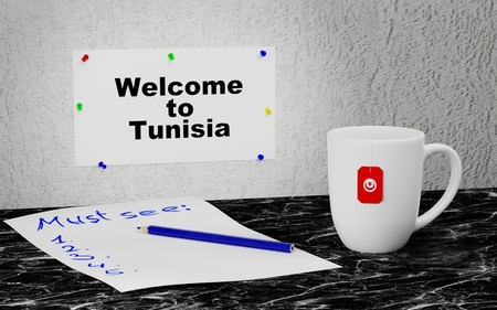 Big mug and label on the wall with text Welcome to Tunisia. 3D rendering.