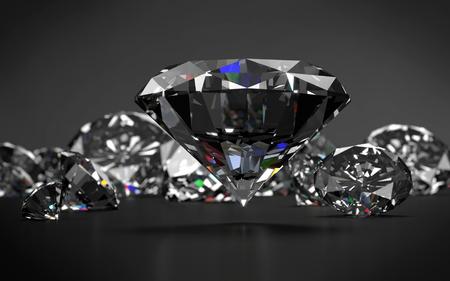 Diamonds on dark grey background. 3D rendering.