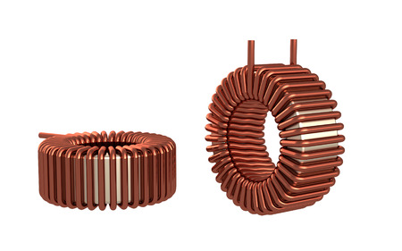Ferrite Toroid Inductor for Switching Power Supply. 3D rendering.