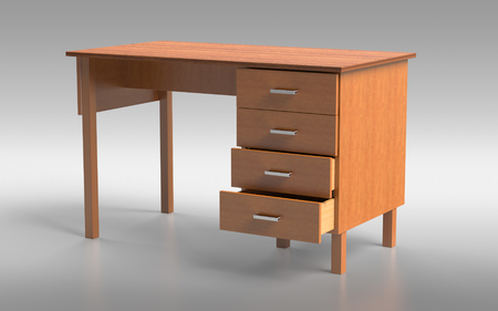 Office furniture: comfortable table with drawers. 3D rendering.