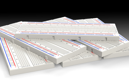 Several prototyping boards (breadboard). 3D rendering.