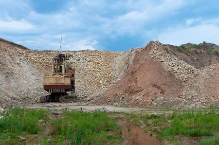 Giant excavator machinery industry in Lithuania. Naujoji Akmene.