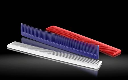 Plastic comb on a dark background. 3d rendering Stok Fotoğraf