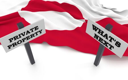 Greenland flag and signs with rhetorical questions: Private property, whats next?. 3D rendering. Фото со стока