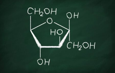 Structural model of Fructose on the blackboard.