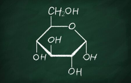 Structural model of Glucose on the blackboard.