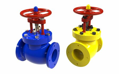The colorful high pressure valves. 3D rendering