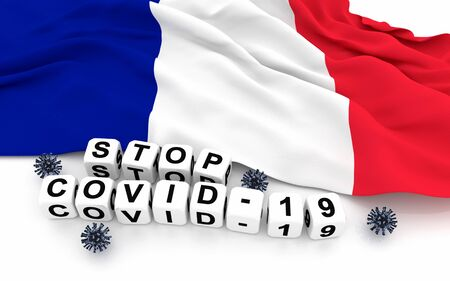 France flag and text stop covid-19. 3D rendering. Zdjęcie Seryjne