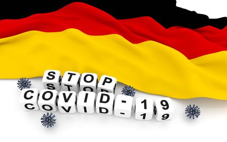 Germany flag and text stop covid-19. 3D rendering.